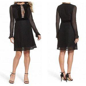 Foxiedox Black Lace Velvet Lace Up Dress